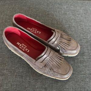 SESTO MEUCCI Metallic Leather Tassel Loafer 8M